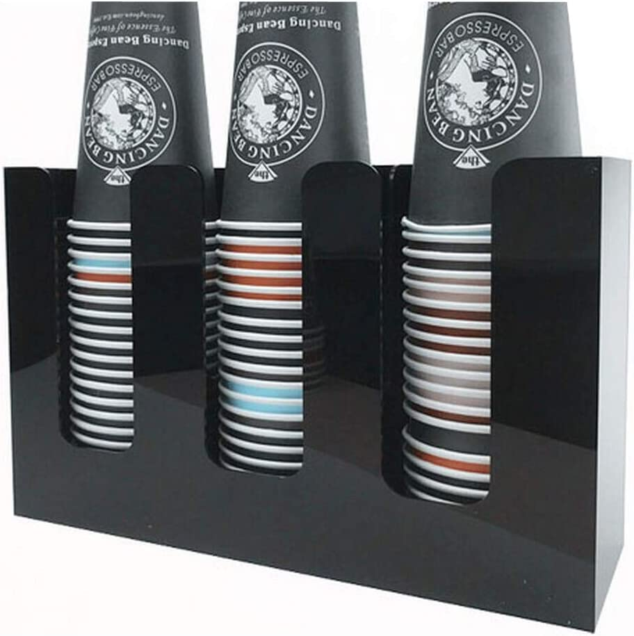 Paper Coffee Cup Holder Organizer, Cup and Lid Organizer Presentation Holds up from 12oz to 20oz. (3 Column)