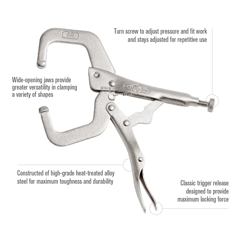 IRWIN Tools VISE-GRIP 6-Inch Locking C-Clamp by Irwin Tools (Image #3)