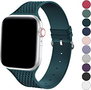 YAXIN Sport Band Compatible with Apple Watch Band 38mm 40mm iWatch Bands Women Men, Premium Silicone Soft Replacement Band Compatible for Apple iWatch Series SE/6/5/4/3/2/1, Pacific Green