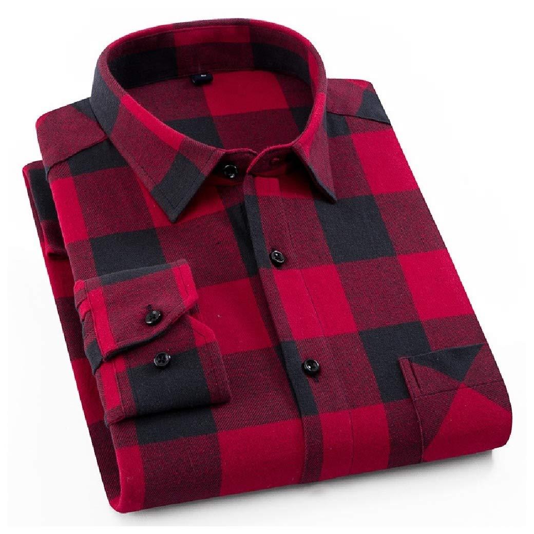 VITryst-Men Classic Casual Classic Plaid Long-Sleeve Washed Longshirt