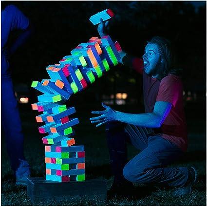 LIMELITE GAMES - Torre gigante de luz negra - Entretiene tu gran grupo de día o de noche - Bloques brillantes - Estuche de transporte premium - Juego de bloques apilables de