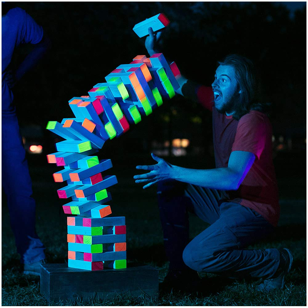 Limelight Games Ultimate Black Light Giant Tumbling Tower - Entertain Your Large Group Day Or Night - Glowing Blocks - Premium Carrying Case - Precision Milled Wooden Stacking Block Set