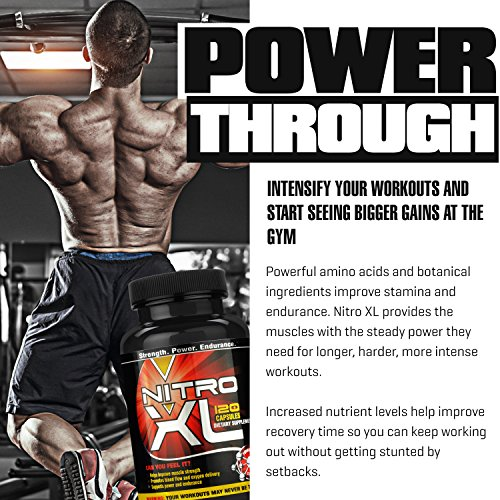Nitro XL | Nitric Oxide Bodybuilding Supplement – with L Arginine | Get Ripped – Build Muscle Mass – Get Pumped – Boost Performance – Increase Endurance & Stamina – Intensify Your Workout | 120 caps