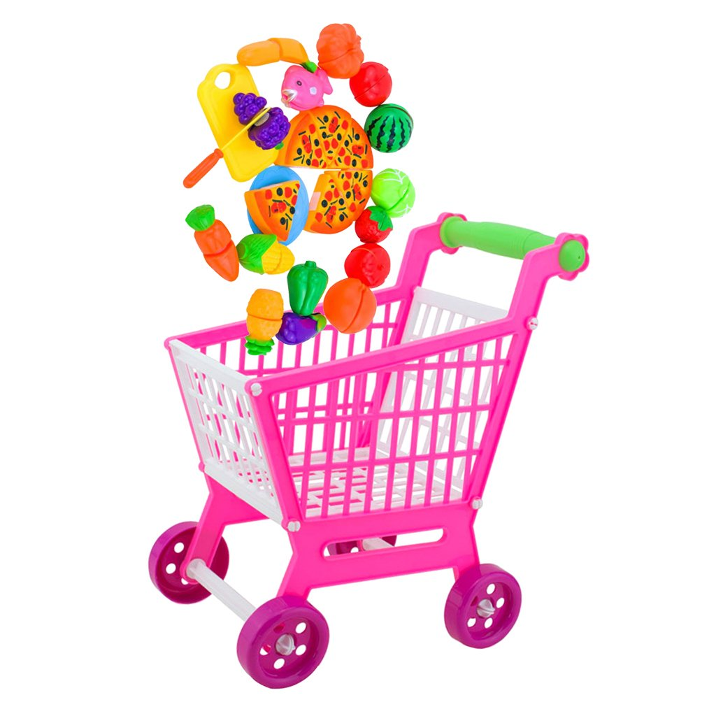 MagiDeal Miniature Shopping Hand Trolley Cart with 24 Pieces Food Slicing Play Set Kid Role Pretend Play Fun Toy