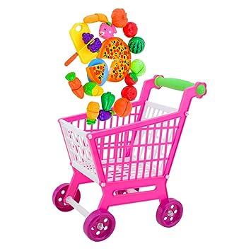 MagiDeal Mini Carro de Compras de Mano Carro con 24 Piezas Sistema de Alimentos Aptos para Fingir Juguete: Amazon.es: Juguetes y juegos