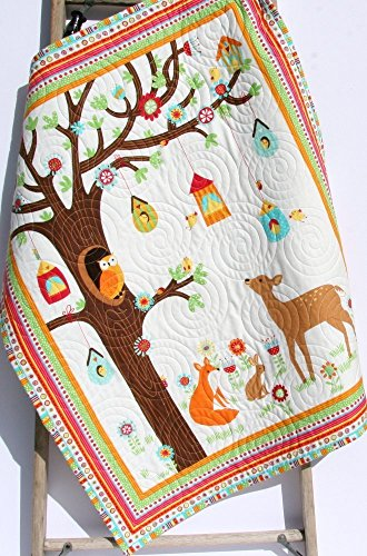 Baby Quilt, FLANNEL Baby Boy or Girl Bedding, Woodland Forest, Deer Owl Fox, Outdoor Nature, Nursery Crib Blanket Handmade