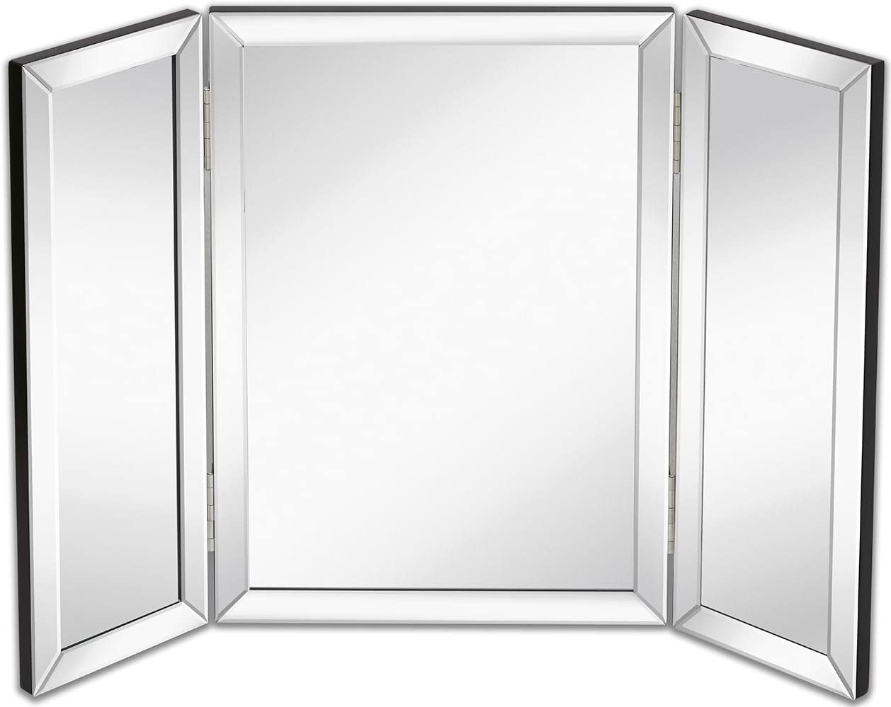 Hamilton Hills Trifold Vanity Mirror Solid Hinged Sided Tri-fold Beveled Mirrored Edges 3 Way Hangable on Wall or Tabletop Cosmetic Makeup Mirror 21 x 30