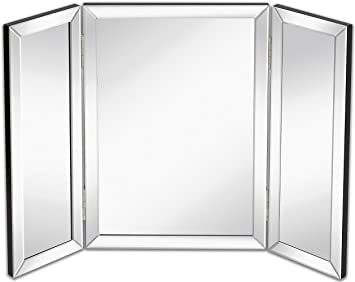 Hamilton Hills Trifold Vanity Mirror | Solid Hinged Sided Tri Fold Beveled  Mirrored Edges |