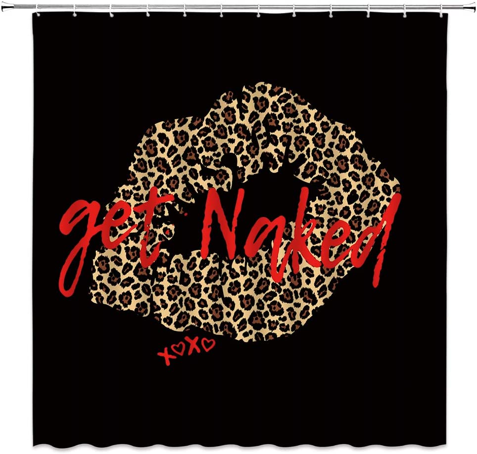 Get Naked Shower Curtain Sexy Leopard Print Lips Decor Funny Kiss Charming Girls Lady Woman,Fabric Bathroom Set Hooks Included,Red Brown