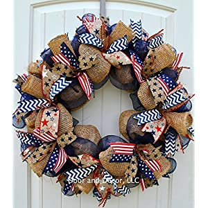 Patriotic Mesh Wreath for July 4th, Memorial Day, Father's Day, and Labor Day in 24 inch Diameter 45