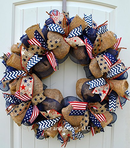 Patriotic Mesh Wreath for July 4th, Memorial Day, Father's Day, and Labor Day in 24 inch Diameter