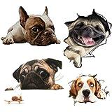 Hangnuo ウォールステッカー犬 シール式 3D 装飾 おしゃれ 壁紙 はがせる 剥がせる カッティングシート 雑貨 ガラス 窓 DIY パーティー イベント トイレ キッチン (4匹の犬セット)