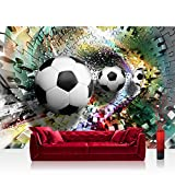 Premium Plus rectangular fleece wall mural photographic wallpaper – soccer football puzzle tunnel white – no. 978, mehrfarbig, weiß, Fototapete 350x245cm | PREMIUM PLUS