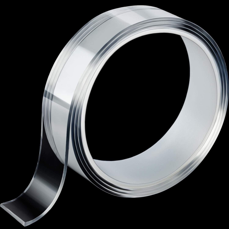 THk 1 mm, L 3 m Boao Nastro Multifunzione Adesivo Biadesivo Trasparente Nastro in Gel Rimovibile in Silicone Nastro Adesivo Antiscivolo Riutilizzabile con Nastro Adesivo