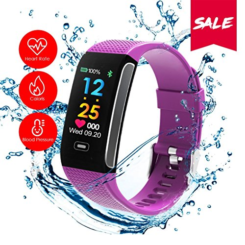 READ Sport Fitness Activity Tracker R18 Smart Watch Heart Rate Blood Pressure Sleep Monitor Watch Waterproof Call Message and SNS Sedentary Remind Watch for Android iOS (Purple)
