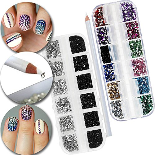 3D Nail Art Manicure Designs Set of Boxes Cases With 3000pcs Colorful, Silver and Black Rhinestones Crystals Gems Jewels Decorations and Professional Picker Pencil Tool (Stone Diamond Set)