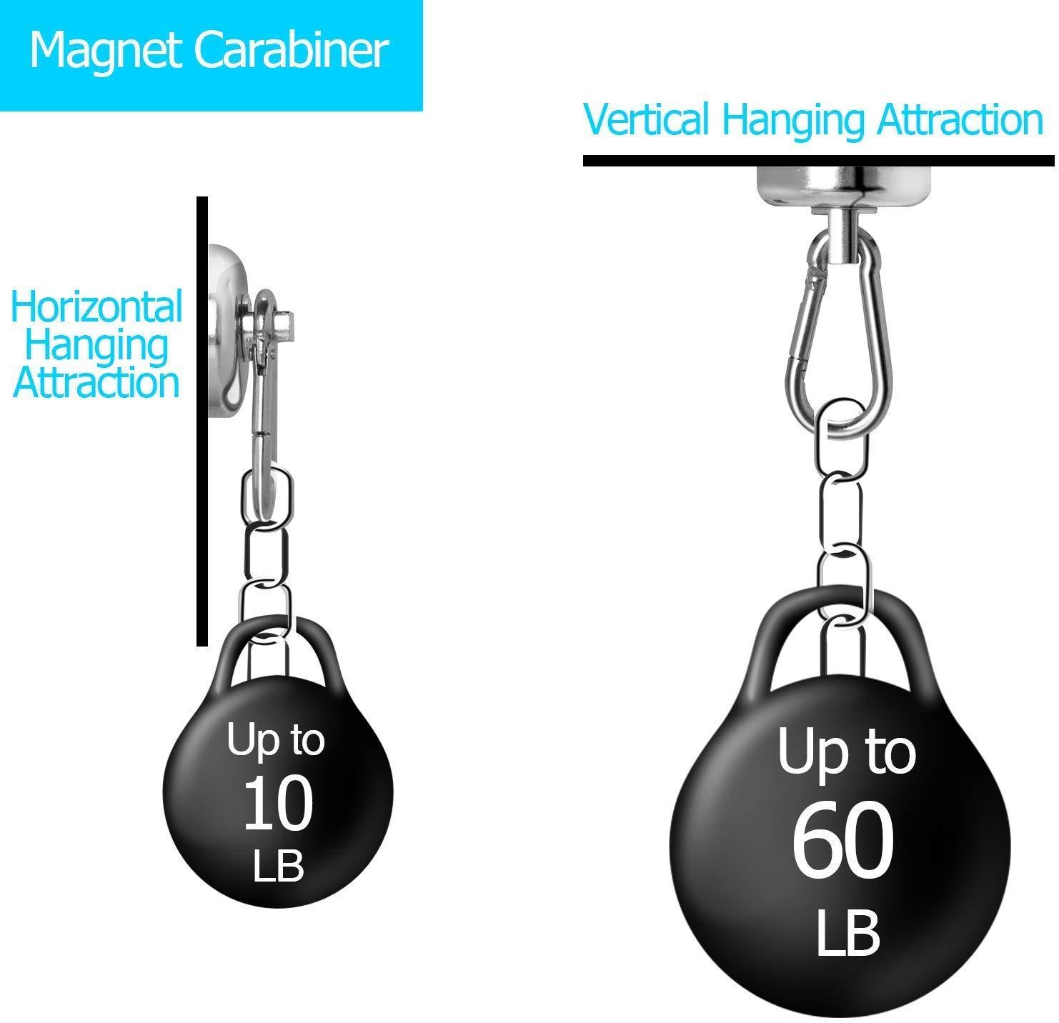 Wukong Neodym /Ösenmagnet mit Karabiner magnetische Werkzeughaken 3,8 cm Last bis 60LB 360/°Drehen Magnet Karabiner f/ür Werkzeughalter Verkaufsregal in K/üche 2 St/ücke