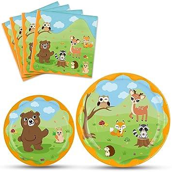 WERNNSAI Platos Servilletas del Animal de Bosque - Vajilla Desechable Suministros para La Fiesta para Niños Cumpleaños Baby Shower 16 Invitados Postre ...