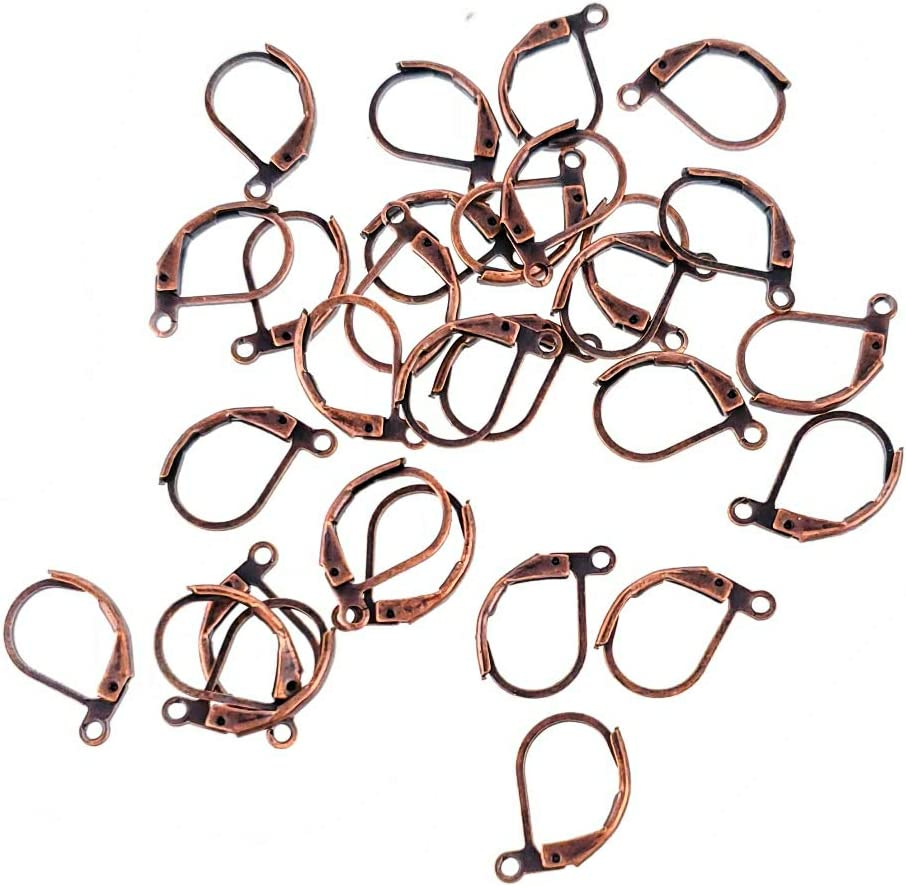 Solid Brass Leverback Wire Earring Findings Hooks for Jewelry Making 15mm, Antique Copper