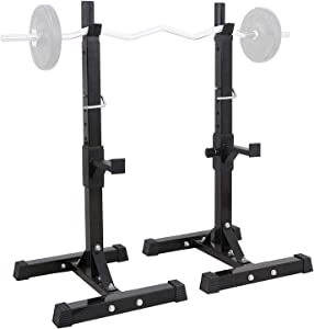 """tochean Barbell Rack Max Load 440 Lbs Adjustable 35.8""""-65"""" Steel Free Bench Press Rack Stands Multi-Function Barbell Rack Dip Stand Barbell Stand Weight Lifting Rack Gym Portable Dumbbell Racks Stands"""