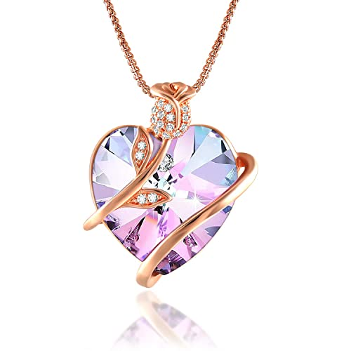 Angelady Rose Flower Heart Necklace for Women with Box Chain, Crystals from Swarovski, Crystal Pendant Necklaces in White Bow Gift Box, Gifts for Wife Girlfriend Friend Daughter