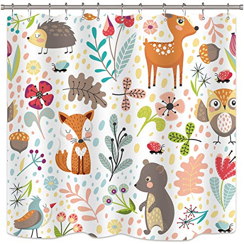 Riyidecor Children's Woodland Shower Curtain Forest Animals Adorable Girls Cute Cartoon Baby Funny Plants Colorful Weeds Kids Waterproof Fabric Bathroom Decor Set 72x72 Inch 12 Pack Plastic -
