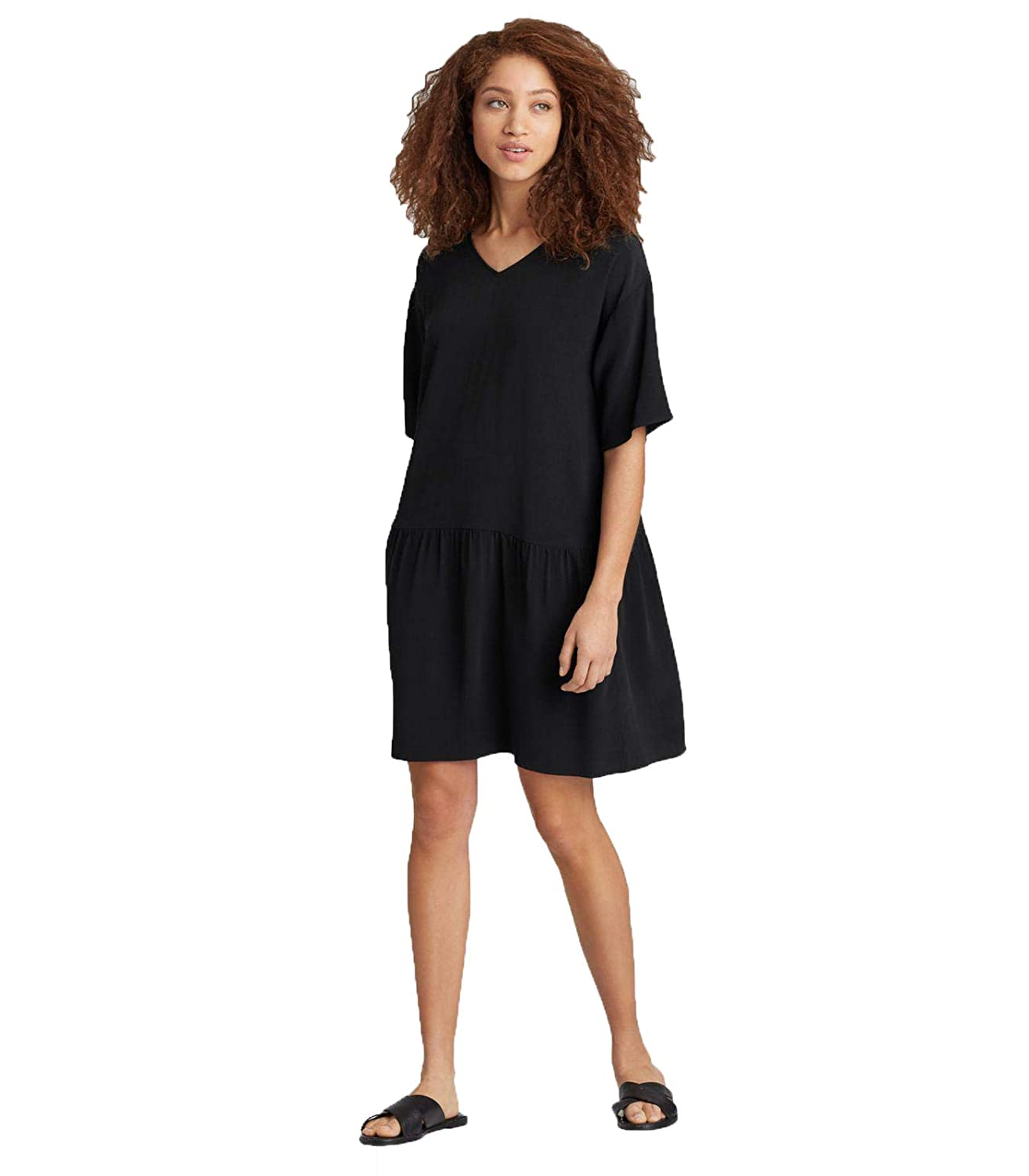 932c987d Eileen Fisher Tencel Viscose Crepe Drop - Waist Short Dress, Black - Small/ Petite at Amazon Women's Clothing store: