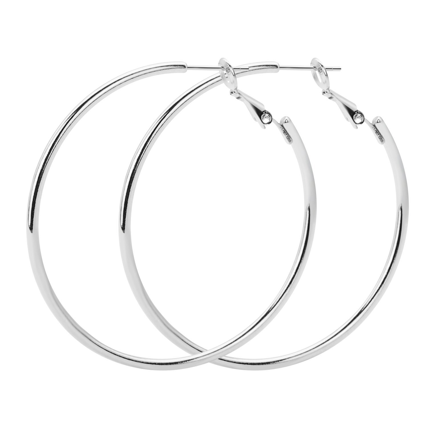 Rugewelry 925 Sterling Silver Hoop Earrings,18K Gold Plated Polished Round Hoop Earrings For Women,Girls' Gifts