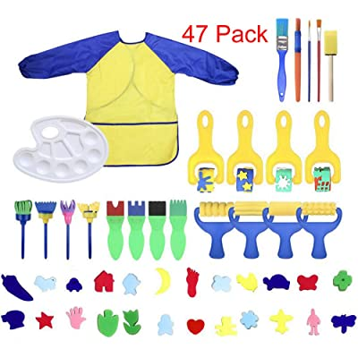 MarJunSep Toddler Learning Toys Washable Finger Paint Brushes Set Art Craft Supplies for 3 4 5 6 Year olds Kids Preschool Fun Gift-sponges-Non toxic-100% Baby Safe: Toys & Games