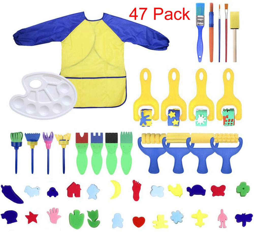 MarJunSep Toddler Learning Toys Washable Finger Paint Brushes Set Art Craft Supplies for 3 4 5 6 Year olds Kids Preschool Fun Gift-sponges-Non toxic-100% Baby Safe by MarJunSep