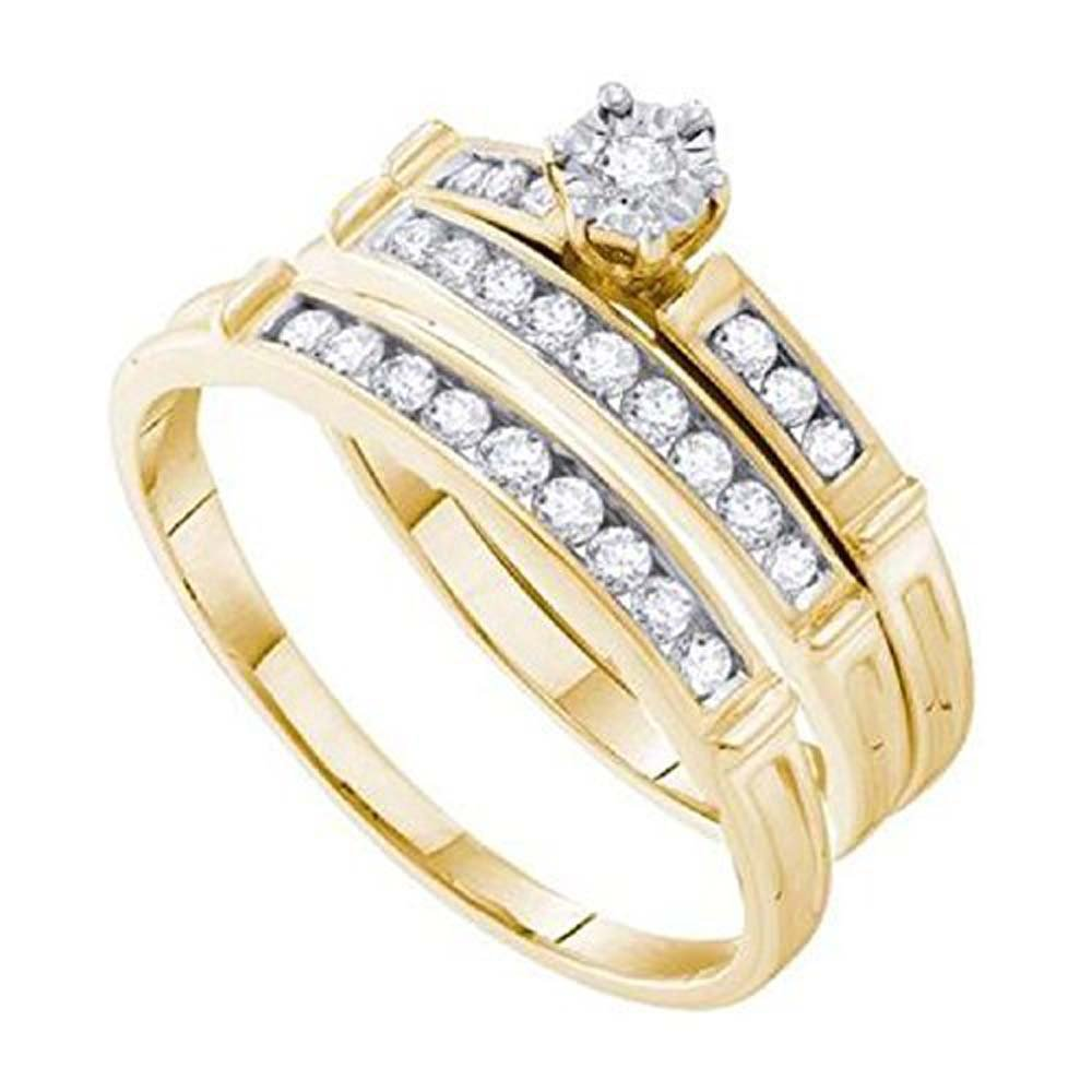 Smjewels 0.46 ct Round Cut Diamond 14k Yellow Gold Fn Wedding Ring Trio Set For Him & Her by Smjewels