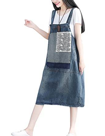 31d27730a36 Flygo Women s Loose Denim Jeans Pinafore Overall Dress Knee Length Long  Suspender Skirt (US S-L