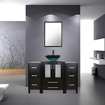 Bathroom Vanity 48 Inch Vanity Top With Sink Square Tempered Glass