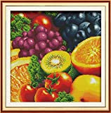 """Good Value Cross Stitch Kits Beginners Kids Advanced-Fruit t 11 CT 22""""X 22"""", DIY Handmade Needlework Set Cross-Stitching Accurate Stamped Patterns Embroidery Home Decoration Frameless (B)"""