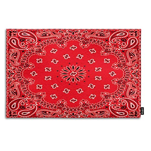 Mugod Western Paisley Indoor/Outdoor Doormat Bandana Seamless Pattern with Red and White Ornaments Funny Doormats Bathroom Kitchen Decor Area Rug Non Slip Entrance Door Floor Mats, 15.7