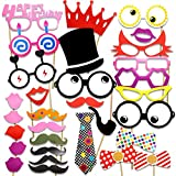 PuTwo Photo Booth Props Diy Kit For Birthday Party,Pack Of 31:Various Colors Of Mustache,Glasses Frames,Ties,Lips,Crown,Pipe,Eyes,Hat and Happy Birthday Sign - 31 Pack