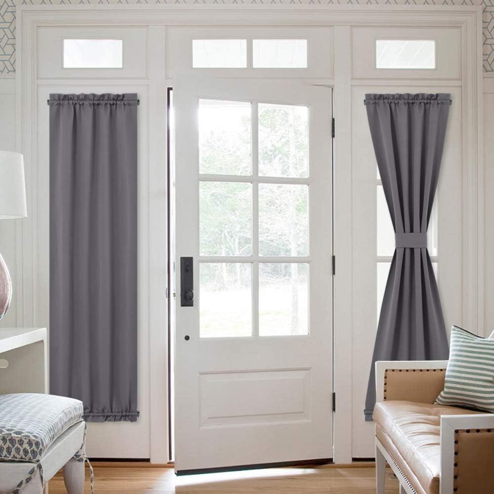 nicetown door curtain panel grey french door curtains blackout thermal insulated sidelight door privacy panels for window living room doorways 25w