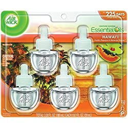 Air Wick Life Scented Oil Plug In Air Freshener Refills, Hawaii Essential Oils, 5 Refills, 3.38oz