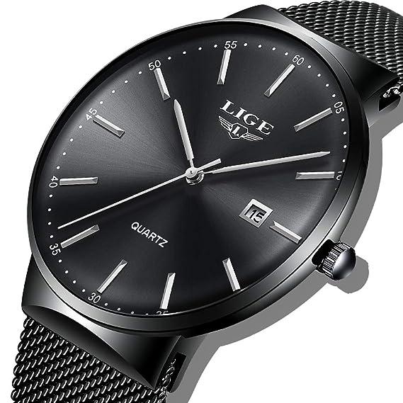 LIGE Relojes de Acero Inoxidable para Hombre Relojes de Acero Inoxidable Impermeable Hombre Moda Analógico Cuarzo Azul Dial con Fecha Reloj de Pulsera