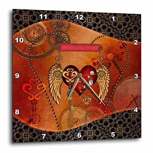 3dRose Heike Köhnen Design Steampunk – Steampunk, Heart Clocks and Gears – Wall Clocks
