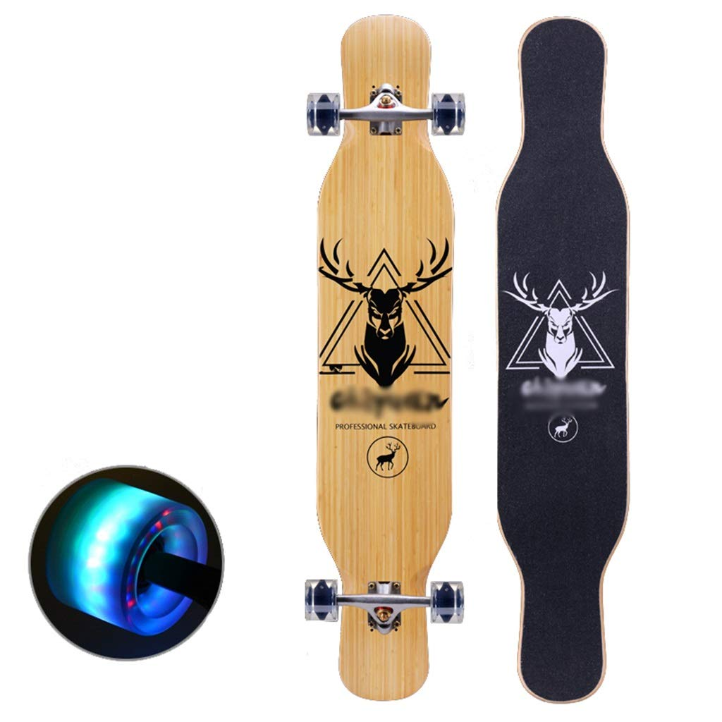 スケートボードロングボードコンプリートスケートボードプロのスケートボードカラフルなライトホイールダブルキックテール初心者向けキッズアダルトボーイズガールズユース B