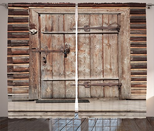 Ambesonne Rustic Decor Curtains, Timber Rustic Door in Wall of An Old Log House Ancient Abandoned Building Entrance Gate Print, Living Room Bedroom Decor, 2 Panel Set, 108 W X - Furniture Log Bedroom