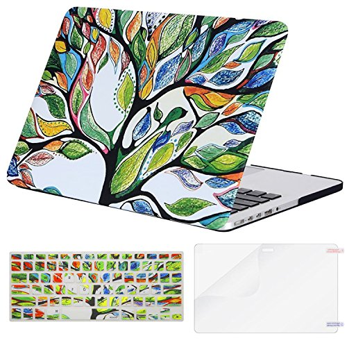 MOSISO Plastic Pattern Hard Case Only Compatible MacBook Pro (W/O USB-C) Retina 13 Inch (A1502/A1425)(W/O CD-ROM) Release 2015/2014/2013/end 2012 & Keyboard Cover & Screen Protector, Love Tree