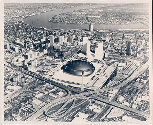 Superdome Sports - Vintage Photos 1971 Photo New Orleans Superdome Stadium Louisiana Sports Cityscape View 8x10