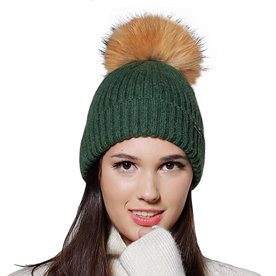 FURTALK Pom Pom Hats for Women Ladies Winter Knitted Bobble Hat Angora Wool  Beanie d35cea7fb9b
