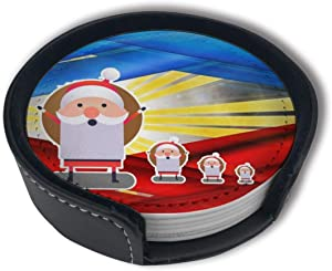 HSUEY Creative Filipinos Color Christmas Coasters for Drinks Absorbent Funny Drink Coaster Protect Furniture from Water Marks Scratch and Damage (6 Pcs)