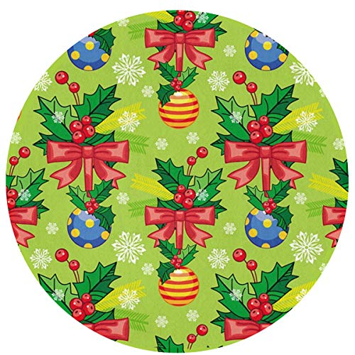 SuperJK Soft Flannel Round Mats Rugs, Durable Polyester & Anti-Slip Circle Blanket, Fashion Absorbent Christmas Ribbon Knot and Balls Doormat Bath Rug, Machine Washable Chair Floor Decor Carpets