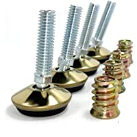 "Swivel Furniture Leg Levelers - Adjustable Leveling Feet Glide for Tables Chairs Cabinets - 1.3"" Dia. Base, 3/8""-16 Thread (Brass Color, 4 Pack)"