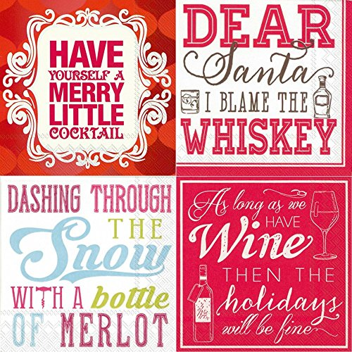 Napkins 3 Ply Cocktail (Funny Christmas Cocktail Napkins Funny Phrases 80 Count Variety Pack 20 each design thick 3-ply)
