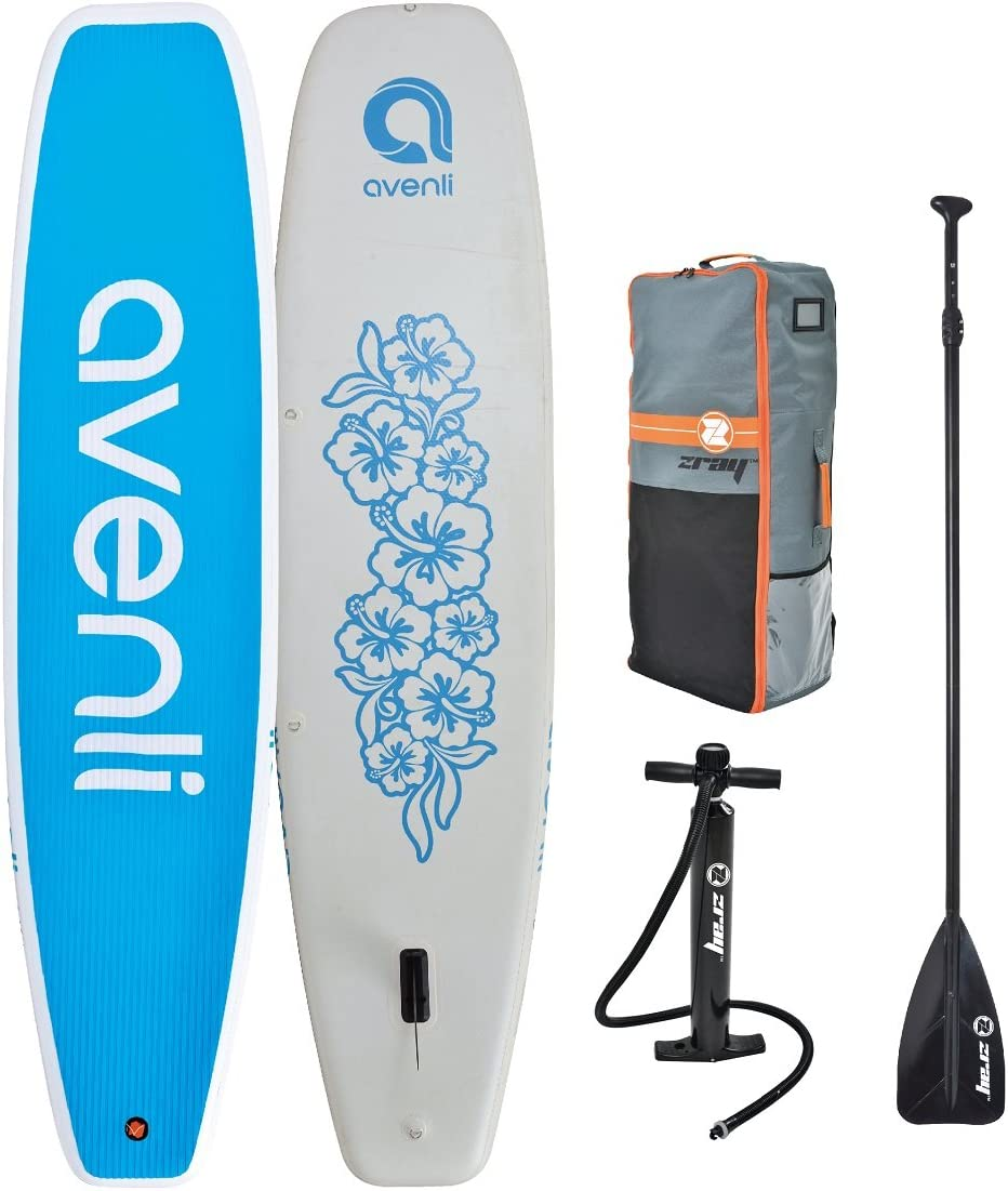 Z-Ray 11 Yoga SUP Inflatable Stand Up Paddle Board Package w Pump, Paddle and Travel Backpack, 6 Thick
